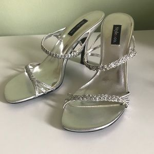Style & Co. Silver Twinkle Sparkle Strappy Heels